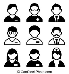 Doctor icon set - Doctors and medic icon set.  illustration.