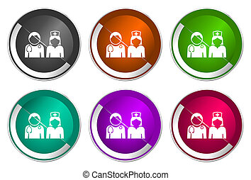 Doctor icon set, silver metallic web buttons