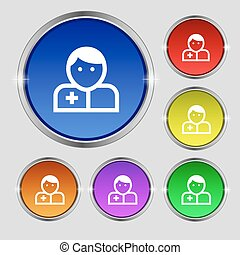 Doctor icon sign. Round symbol on bright colourful buttons. Vector