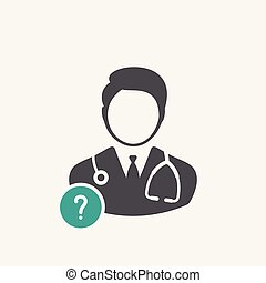 Doctor icon with question mark. Doctor icon and help, how to, info, query symbol