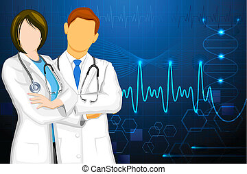 Doctor - illustration of male and female doctor on medical ...