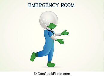 Doctor in a emergency case. 3D doctor man
