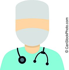 Doctor in a mask with stethoscope icon isolated