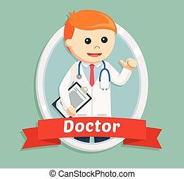 doctor in emblem illustration design