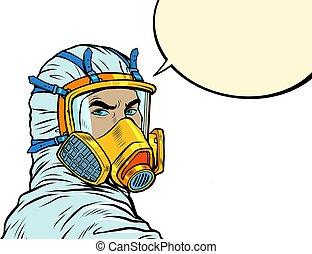doctor in full face mask respirator. Pop art retro vector illustration 50s 60s style