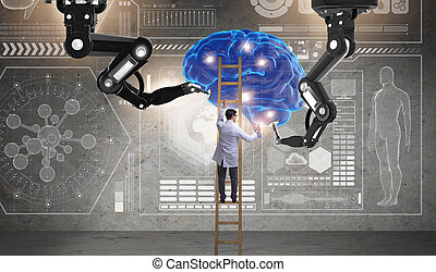 Doctor in futuristic medical concept with brain