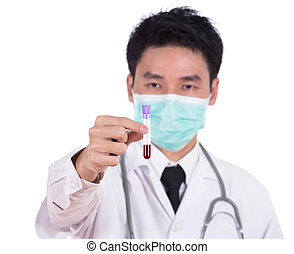 doctor in mask research a medical test glass with blood