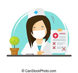 Doctor in medical face mask or physician woman person showing bad unhealthy test check up results list vector flat cartoon illustration, medic female character with ill paper report modern image