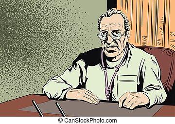 Doctor in office. Stock illustration.