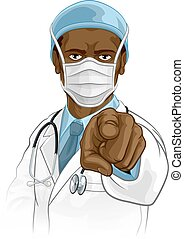 A doctor medical healthcare professional. Pointing at the viewer in a needs or wants you gesture with serious but caring look. Wearing PPE including face mask.