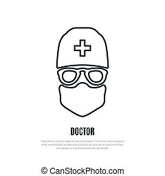 Doctor in protective mask liner icon.