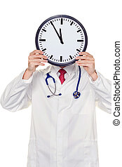 doctor in the head before stress with clock