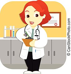 Doctor in the Office - A friendly female doctor with a ...