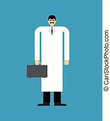Doctor in white coat. vector illustration