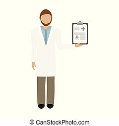 doctor in white coat with prescription isolated on white background vector illustration EPS10
