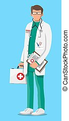 Doctor in white coat with stethoscope and case. Medical suit with different pills and medical devices in pockets. Healthcare, hospital and medical diagnostics. Vector illustration in flat style