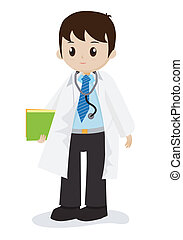 Doctor in white gown with stethoscope, vector