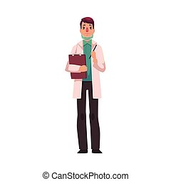 Young, handsome doctor in white lab coat and green uniform holding a clipboard, cartoon vector illustration isolated on white background. Full length portrait of young male doctor with clipboard