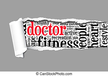Doctor info-text graphics and arrangement concept  (word cloud) on paper torn.
