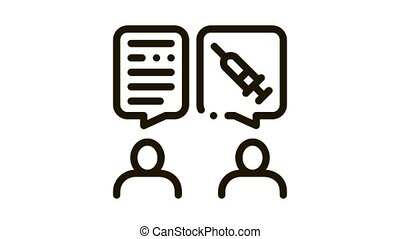 Doctor Injections Consultation Icon Animation. black Doctor Injections Consultation animated icon on white background