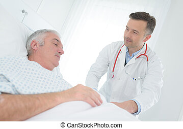doctor inspecting the patient