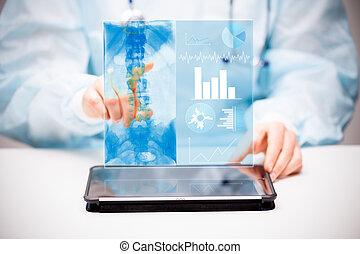 doctor, interactúa, con, virtual, pantalla, de, nueva tecnología, para, medicine.