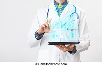 Doctor interacts with virtual screen of new technology for medicine.