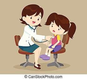doctor is seeing a small girl - Doctor listening to chest of...