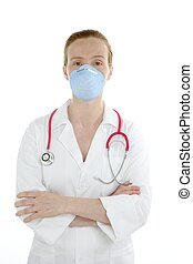 Doctor isolated on white, beautiful nurse woman with mask