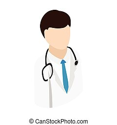 Doctor isometric 3d icon. Single man with stethoscope on a white background