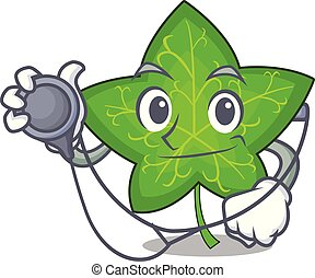 Doctor ivy leaf isolated on character cartoon