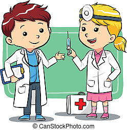Doctor Kids - Kids playing to be a doctors. Vector EPS8 file