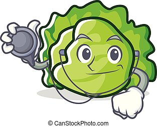 Doctor lettuce character cartoon style