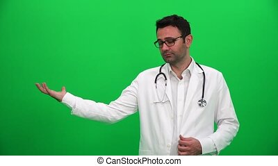 Doctor Lifting Or Presenting Something on Green Screen. Right Side.