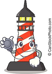 Doctor lighthouse character cartoon style