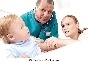 Doctor listen the baby with stethoscope.