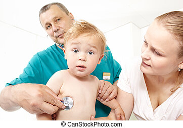 Doctor listen the babyboy with stethoscope.
