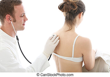 Doctor listening to a patient breathing