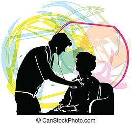 Doctor listening to elderly female's heart with stethoscope