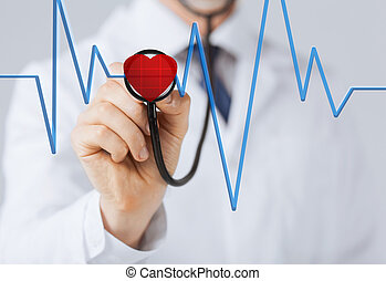 doctor listening to heart beat - doctor with stethoscope ...