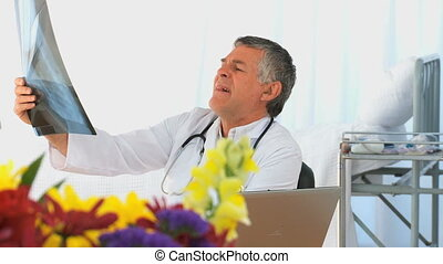 Doctor looking at a scan in his off