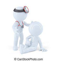 Doctor looking at his patient. Isolated. Contains clipping path