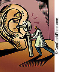 Doctor looking through an otoscope at a giant ear