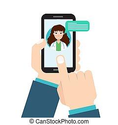 doctor, médico, service., en línea, salud, consulta, ...