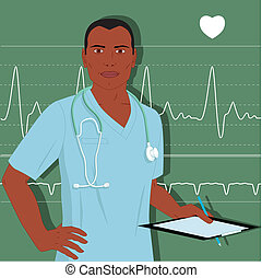 doctor, macho, enfermera, o