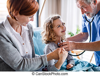 doctor, madre, pequeño, hospitalized, hospital., niña, ...