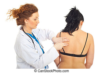 Doctor making pulmonary percussion to patient woman isolated...