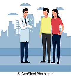 Doctor man and couple standing over city urban background