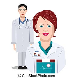 Doctor. Man and Woman Doctors Isolated on White Background. Vector.