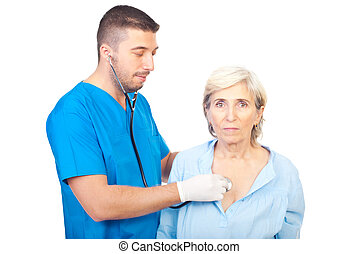 Doctor man assess senior woman